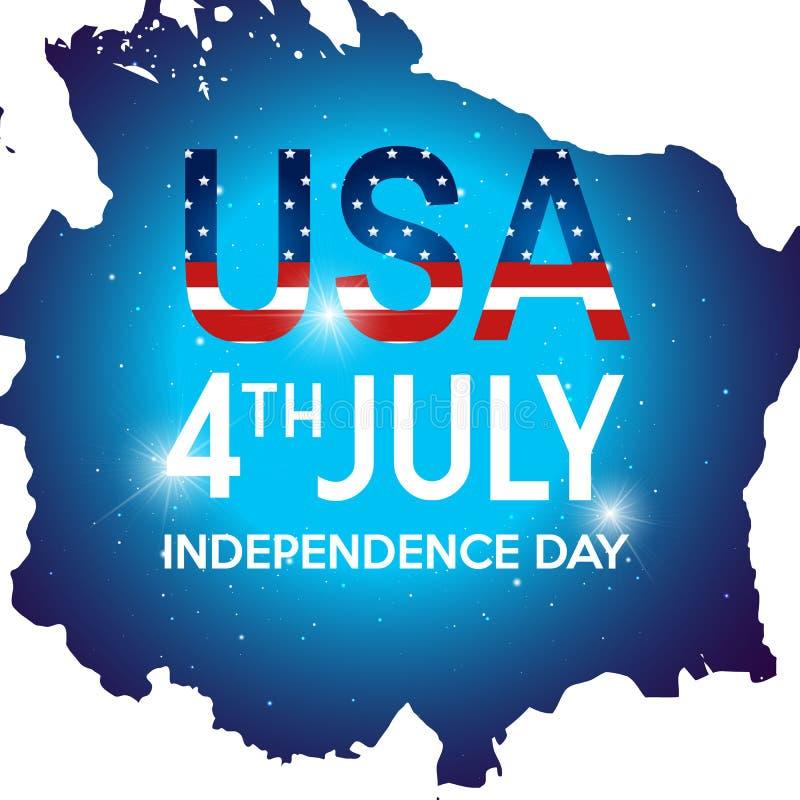 Fjärdedel av kortet för Juli självständighetsdagenhälsning Amerikansk patriotisk illustration vektor illustrationer
