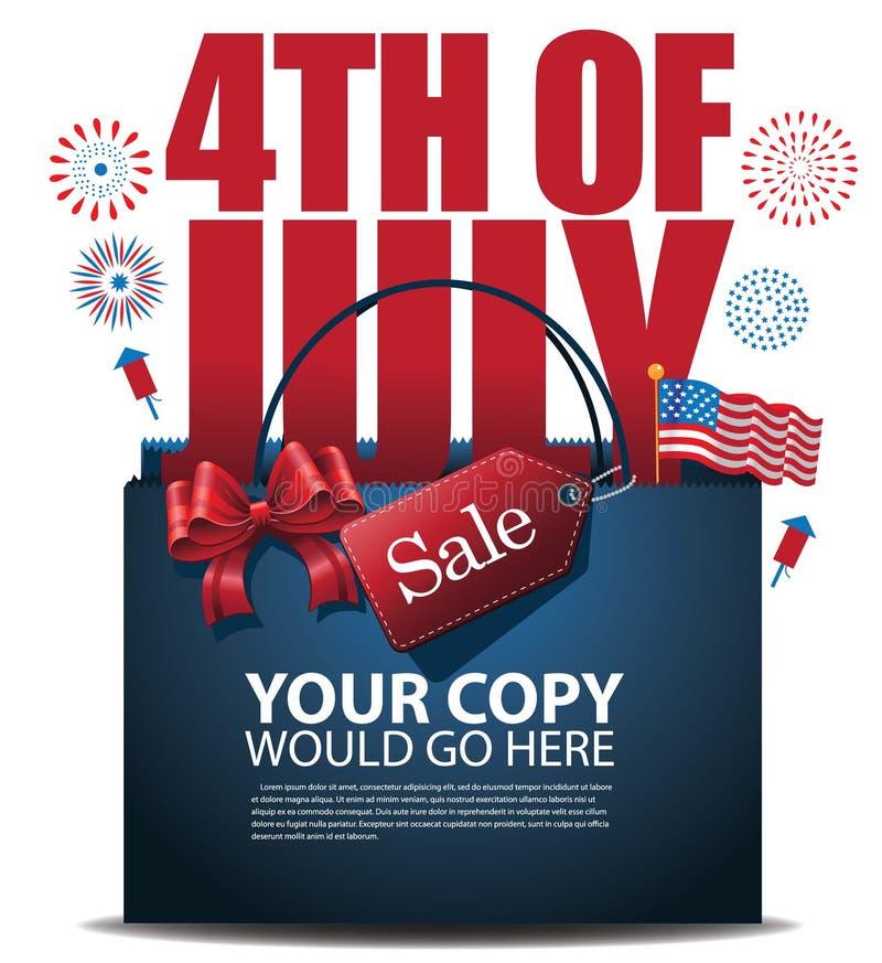 Fjärdedel av vektorn för EPS 10 för bakgrund för Juli Sale shoppingpåse vektor illustrationer