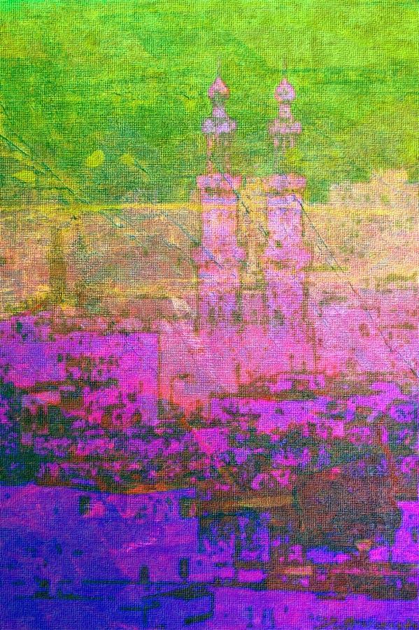 fjärdedel för målning cairo egypt för islamisk olja gammal