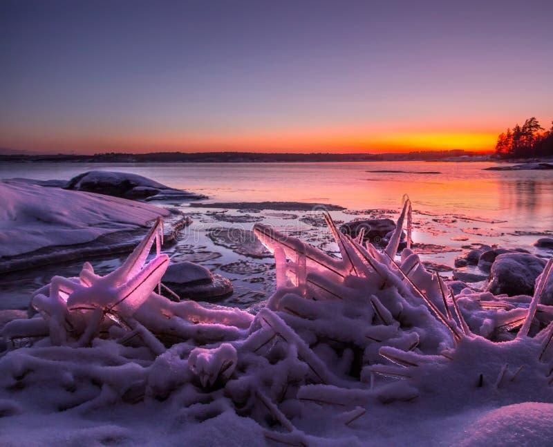 Fjärden av Ladoga sjön i aftonljuset Karelia juni royaltyfria bilder