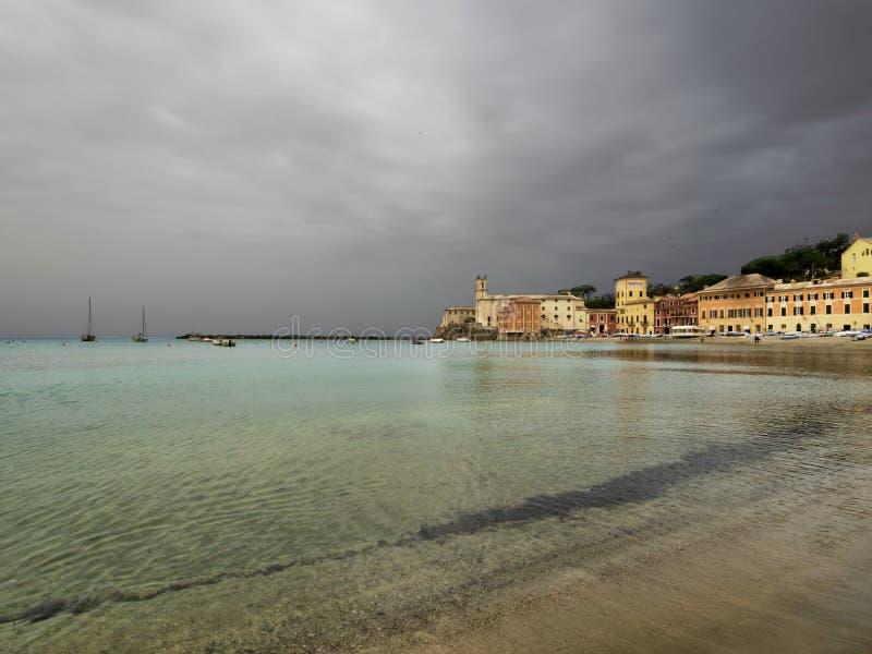 Fjärden av tystnad, Sestri Levante, Liguria, Italien Ut ur säsong royaltyfria foton