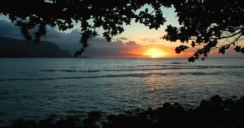 fjärdhanaleikauai solnedgång royaltyfri foto