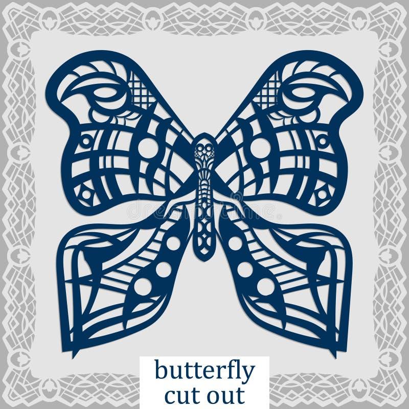 Fjäril - en mall för laser-klipp Planlägg beståndsdelen för ett bröllop, ett romantiskt möte eller ett hälsningkort Kan användas  royaltyfri illustrationer
