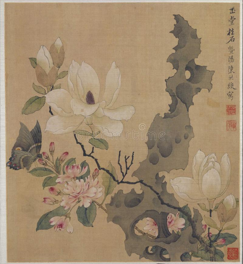 Fjäril för orkidé för vattenfärg arkivbilder