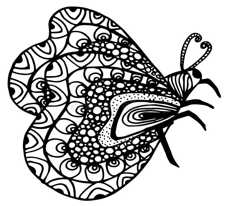 Fjäril grafisk stil, dragen hand, vektorillustration vektor illustrationer
