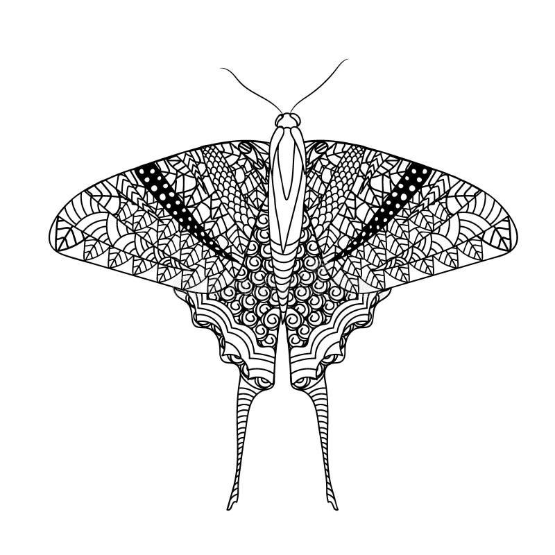 Fjäril med den etniska klottermodellen Zentangle inspirerade modellen för anti-sidor för spänningsfärgläggningboken för vuxna män stock illustrationer