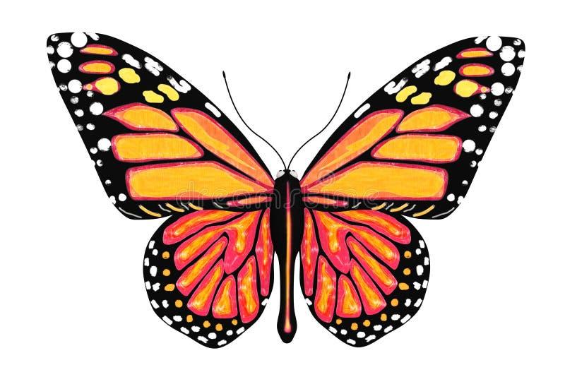 Fjäril med guling- och apelsinfärger vektor illustrationer
