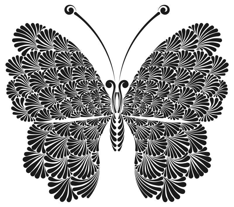 Fjäril med härliga openwork vingar vektor illustrationer