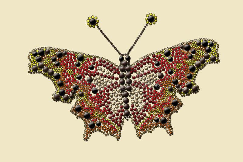 Fjäril med kulöra droppar arkivfoto