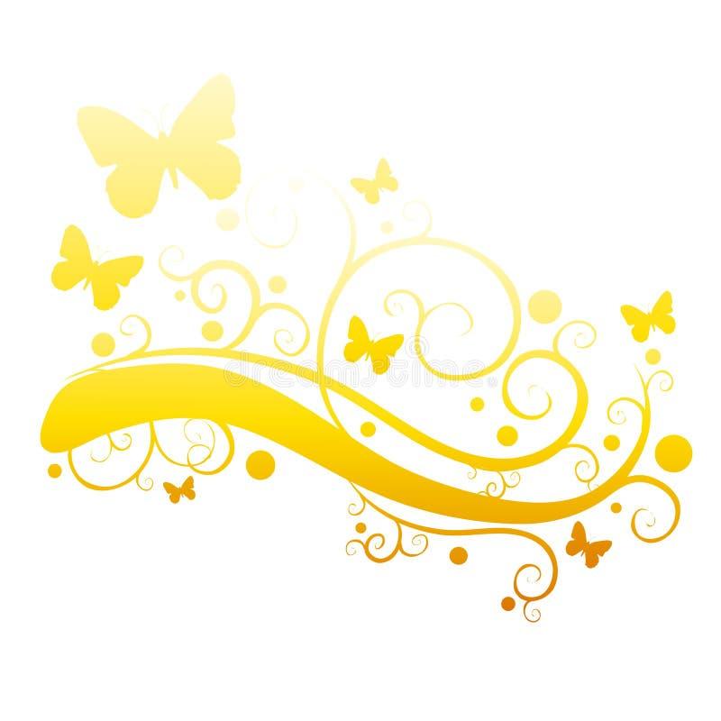 fjärilar blommar den trädgårds- guldsilhouetten stock illustrationer