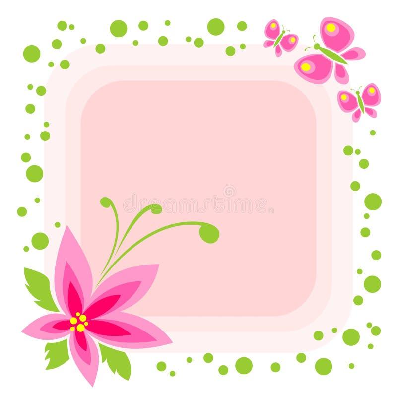 fjärilar blommar pink royaltyfri illustrationer