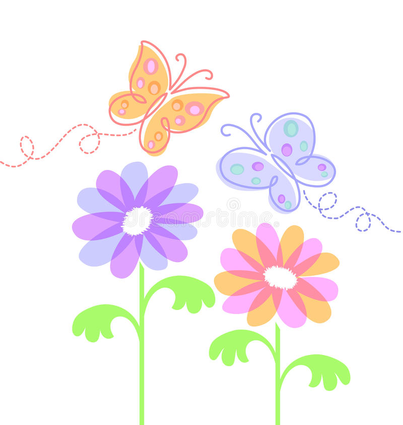 fjärilar eps blommar fjädern royaltyfri illustrationer