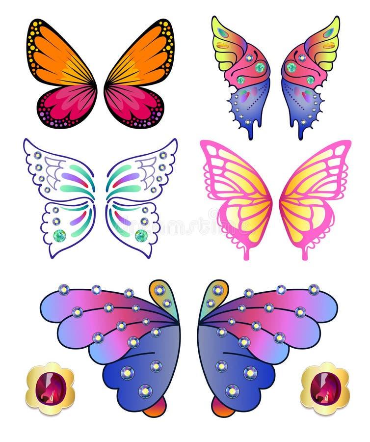 Fjärilar färgad ädelstenvinguppsättning royaltyfri illustrationer