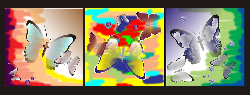 fjärilar färgade mång- stock illustrationer