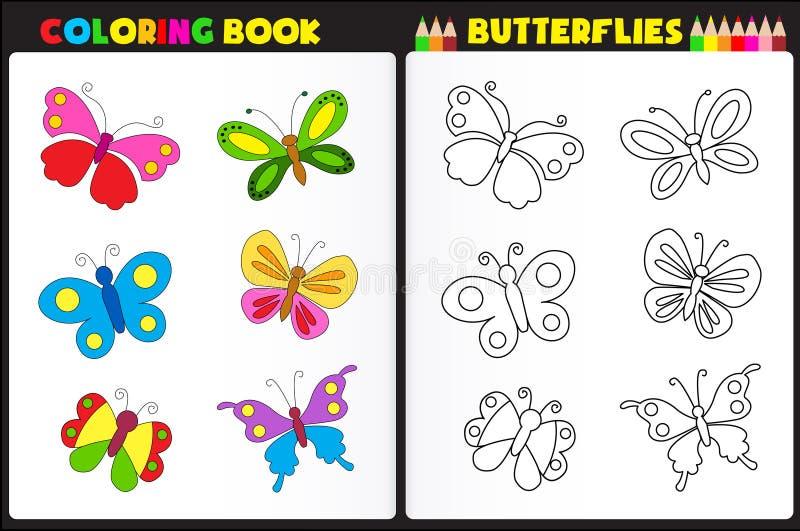 Fjärilar för färgläggningbok stock illustrationer