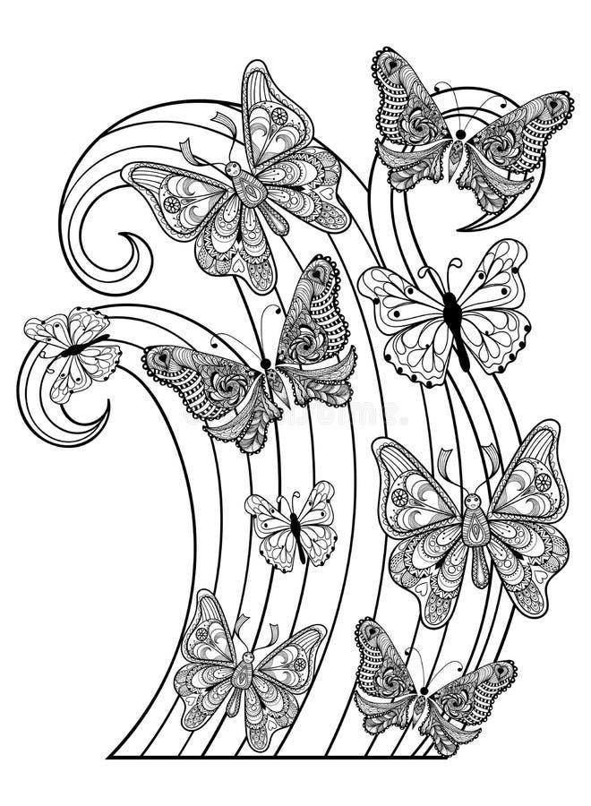 Fjärilar för Zentangle vektorflyg för vuxen anti-spänningscolori royaltyfri illustrationer