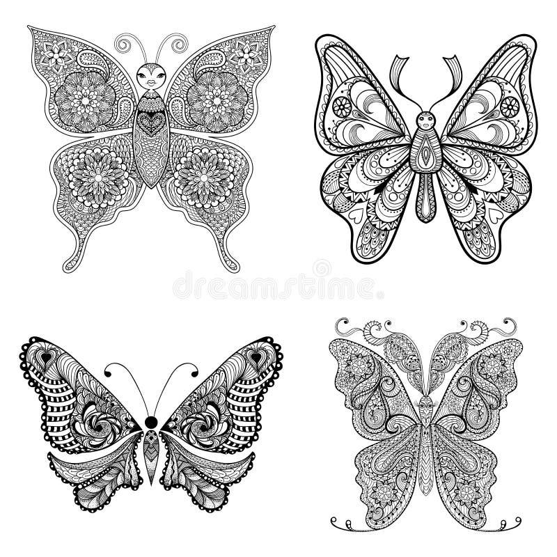 Fjärilar för Zentangle vektorsvart ställde in för den vuxna anti-spänningen Co royaltyfri illustrationer