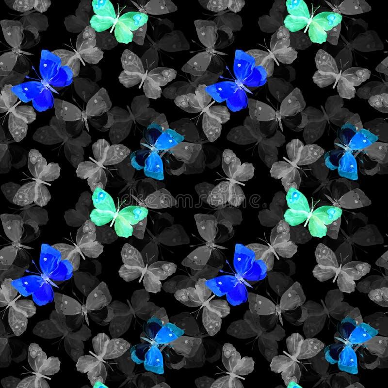fjärilar Glödande design på svart bakgrund seamless modell arkivfoton