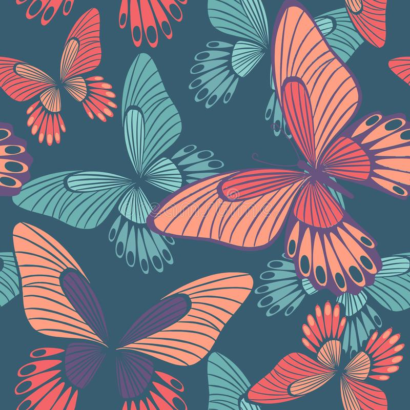 Fjärilar i korall- och QuetzalgräsplanBackround den sömlösa modellen arkivfoton