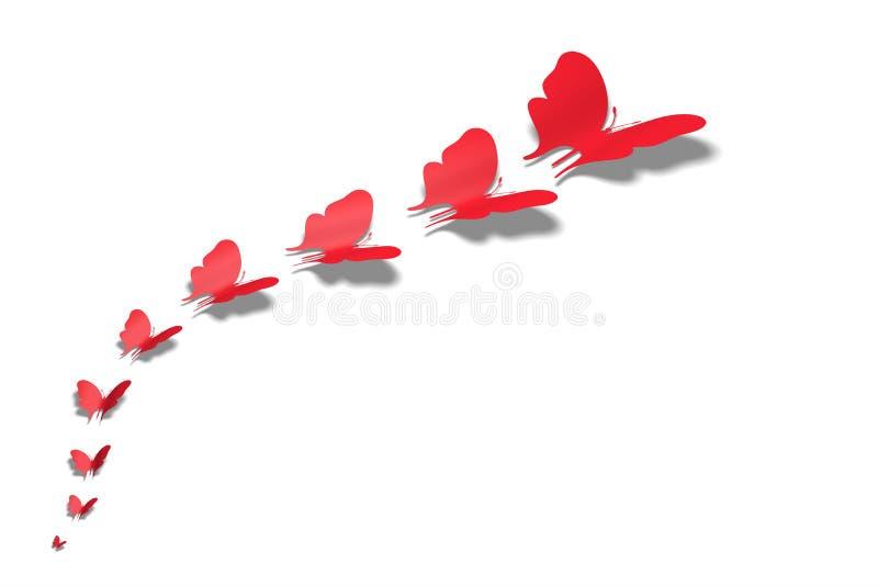 fjärilar i rad 2 för bakgrund för illustration 3D röda royaltyfri illustrationer
