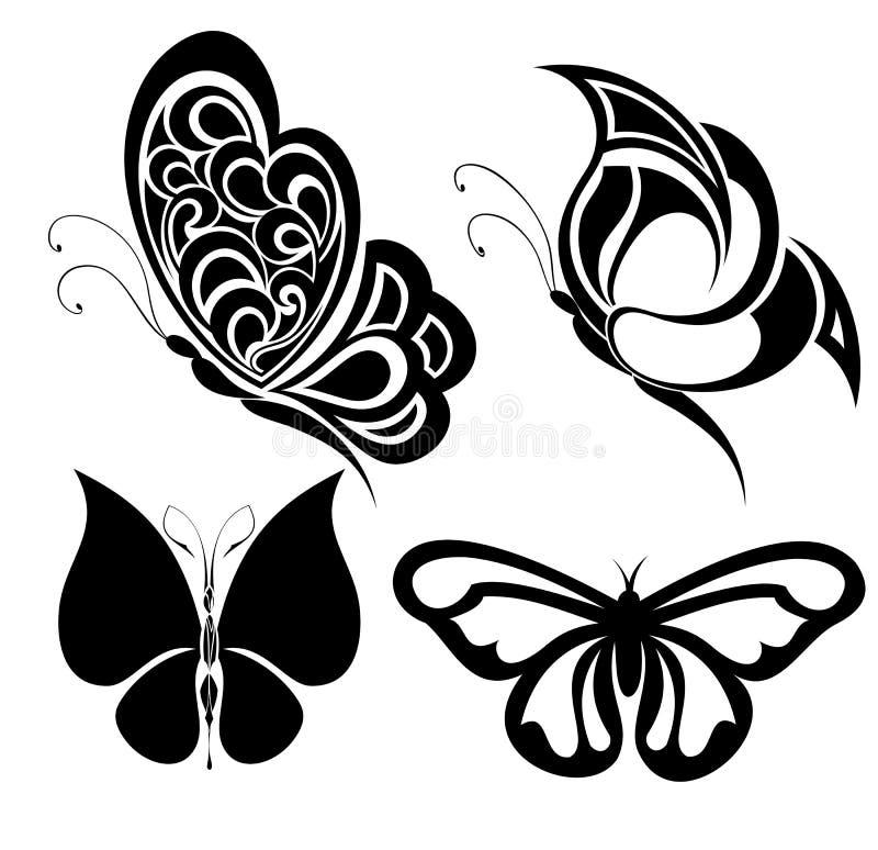 fjärilar inställd tatuering vektor illustrationer