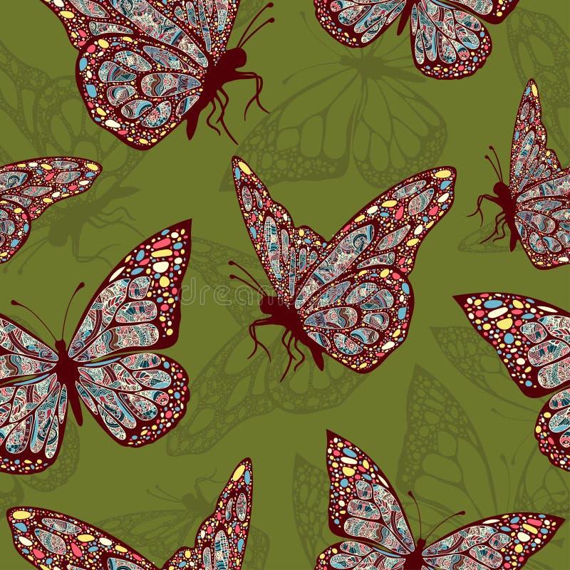 Fjärilar med den mångfärgade orientaliska prydnaden i stilbohoen, hippie stock illustrationer