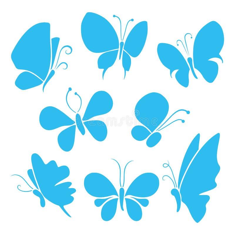 Fjärilar med olika former, isolerad fjärilsvektoruppsättning stock illustrationer