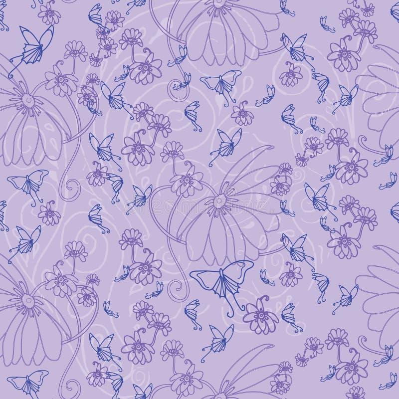 Fjärilar och blommor på en lavendelbakgrund royaltyfri illustrationer