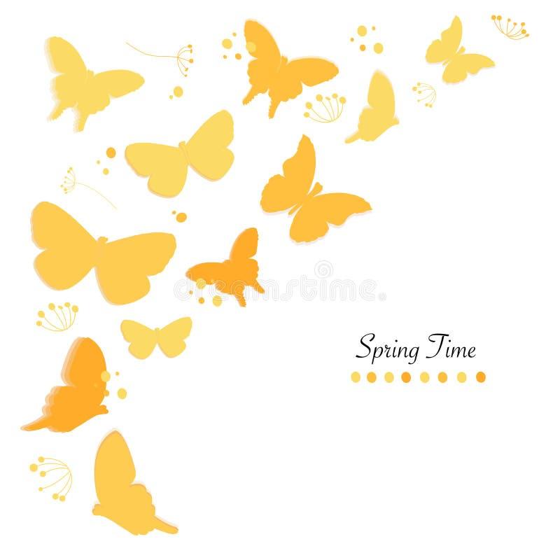 Fjärilar planlägger och gör sammandrag bakgrund för vektorn för kortet för hälsningen för blommavårtid vektor illustrationer