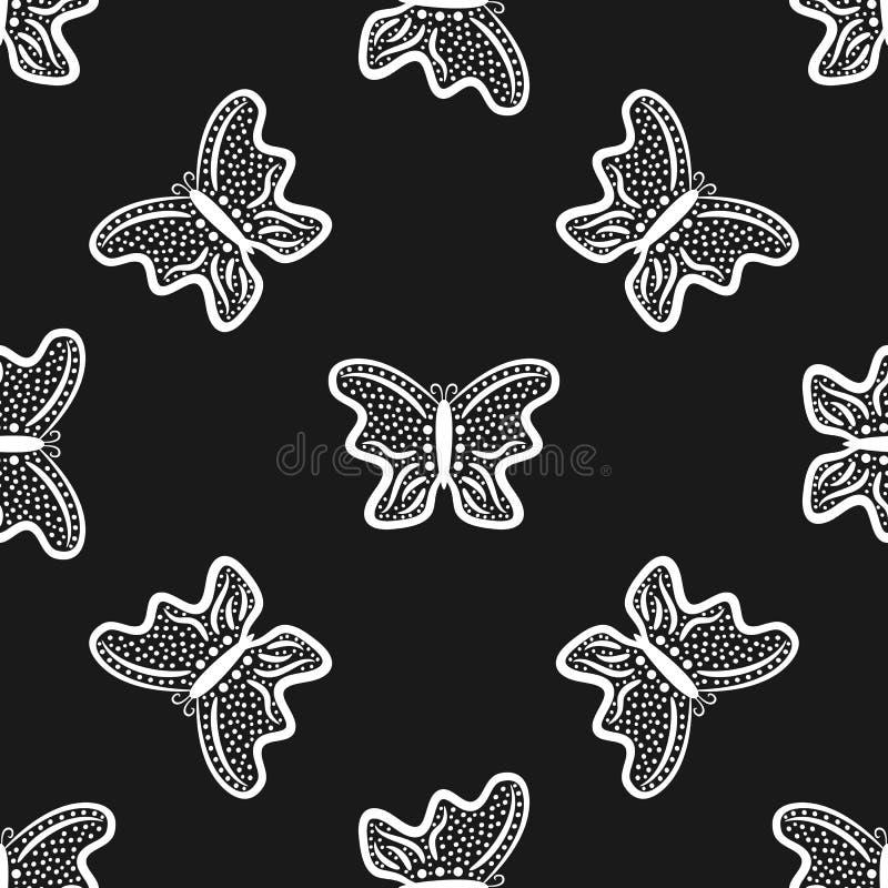 Fjärilar som dras av handen seamless modell Skissa, klottra stock illustrationer
