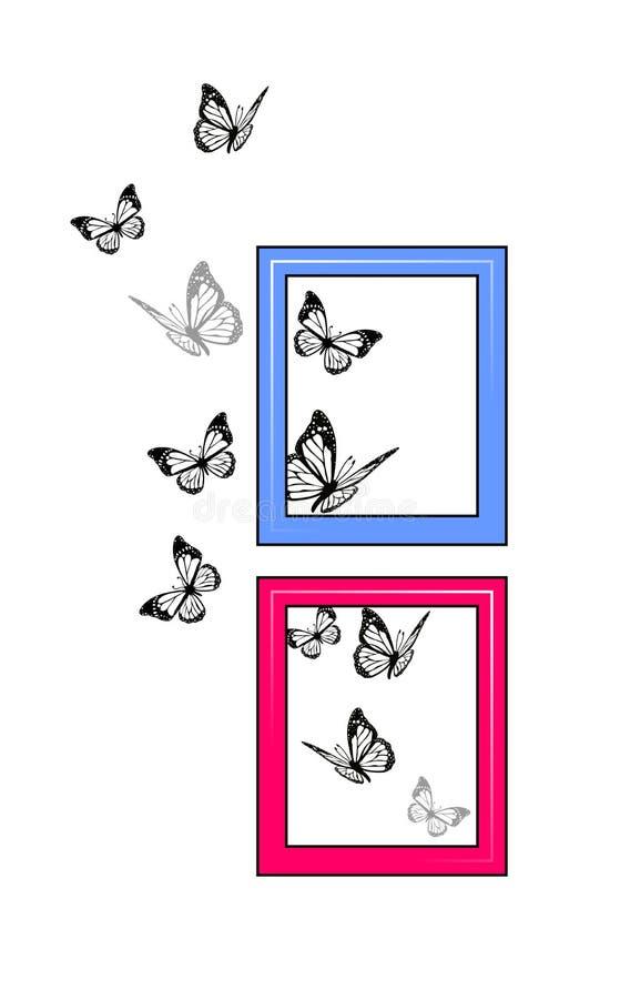 Fjärilar som flyger runt om ramhemdekoren stock illustrationer