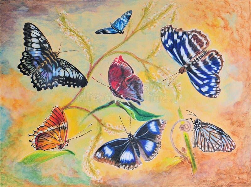 fjärilar som målar sju royaltyfri illustrationer