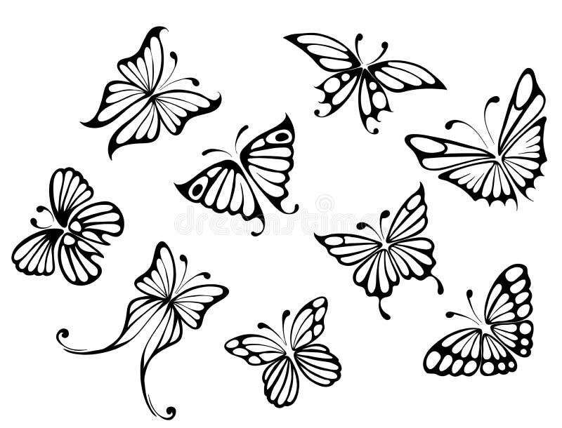 fjärilar ställde in stock illustrationer