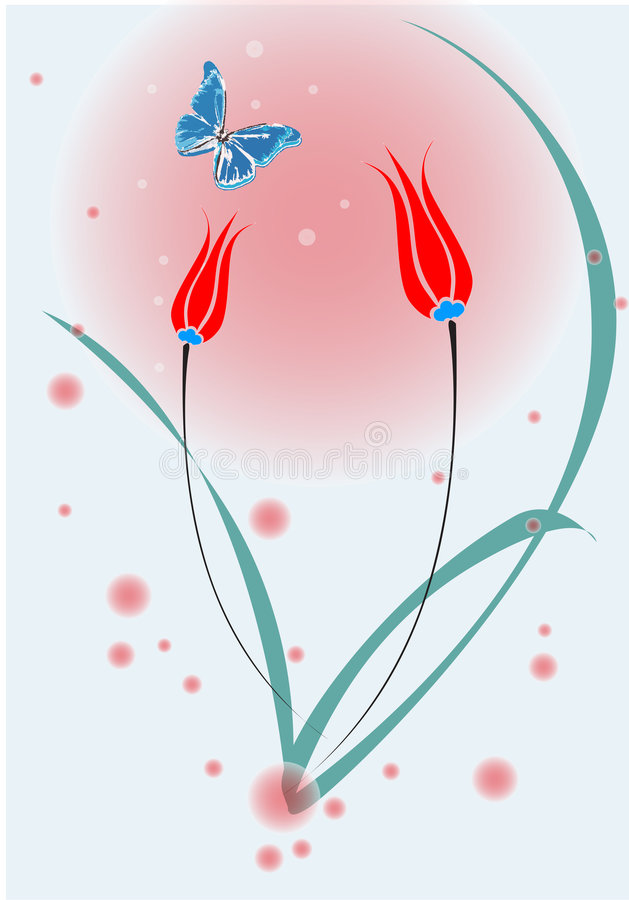 fjärilen blommar den röda tulpan royaltyfri illustrationer