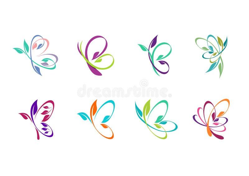 fjärilen logoen, skönhet, brunnsort, kopplar av, yoga, livsstilen, abstrakt fjärilsuppsättning av designen för symbolsymbolsvekto royaltyfri illustrationer