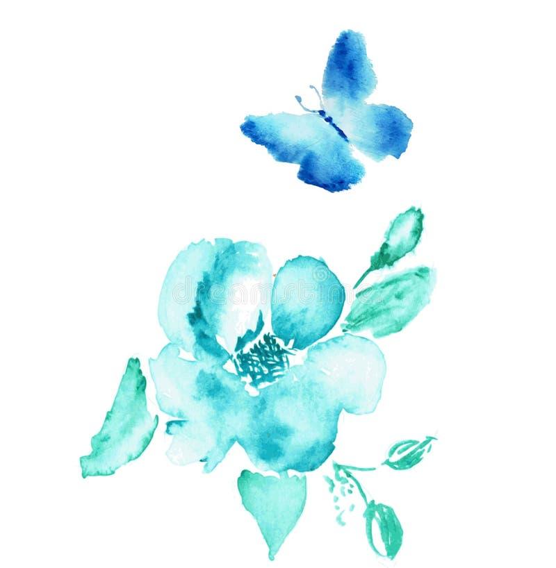 Fjärils- och blommavattenfärgteckning vektor fotografering för bildbyråer