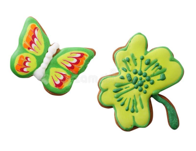 Fjärils- och växt av släktet Trifoliumblad arkivfoton