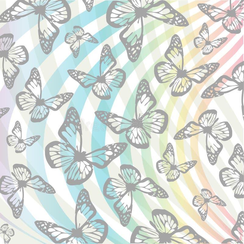 Fjärils- och virvelbakgrund royaltyfri illustrationer