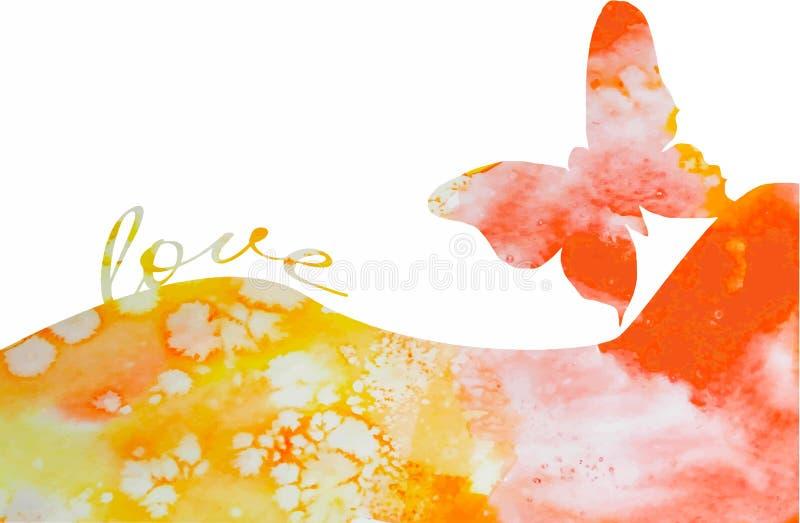 Fjärilsbakgrundsvattenfärg med förälskelse stock illustrationer