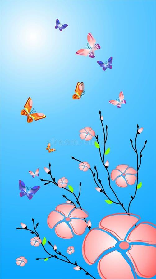 fjärilsblommor vektor illustrationer