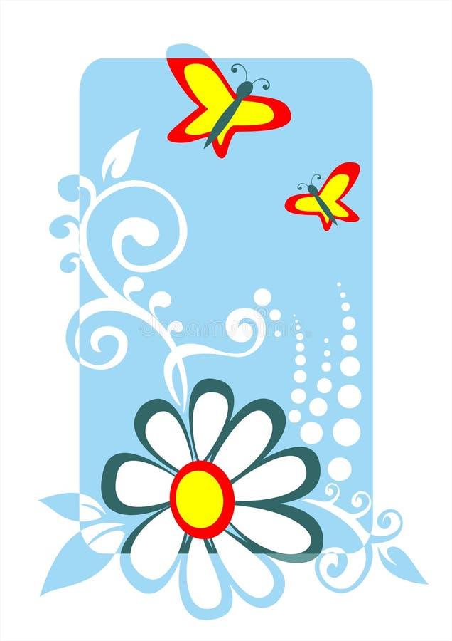 fjärilscamomile royaltyfri illustrationer