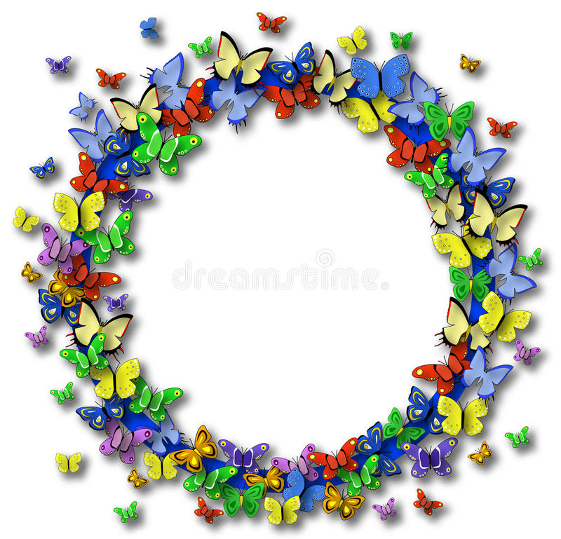 fjärilscirkel stock illustrationer