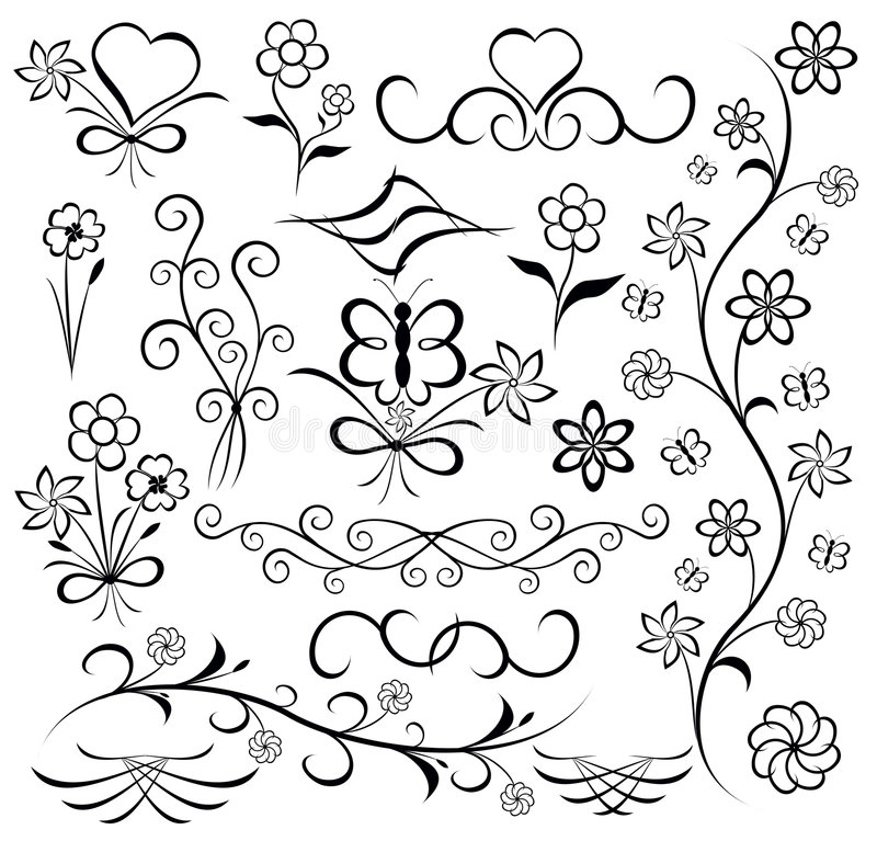 fjärilsdesignelement blommar hjärtavektorn stock illustrationer