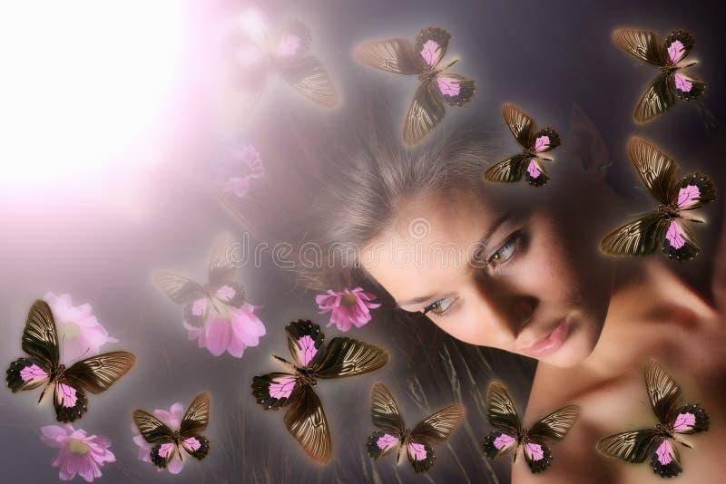 fjärilsflicka royaltyfri foto