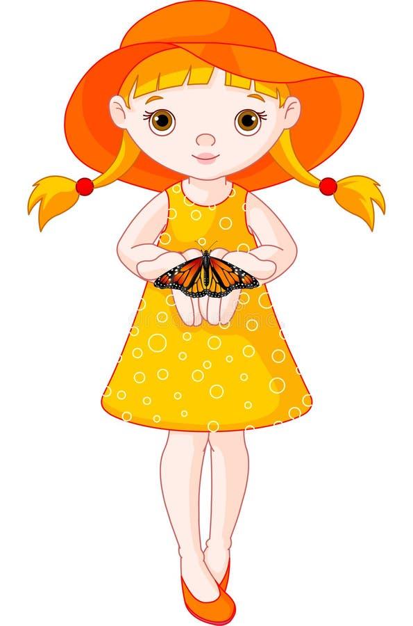 fjärilsflicka little royaltyfri illustrationer