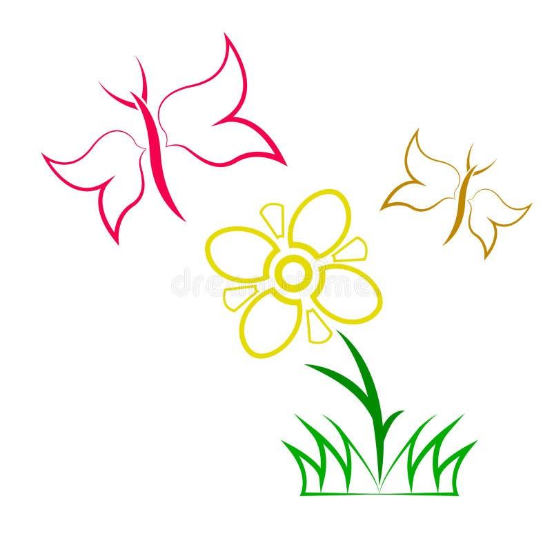 Fjärilsfluga nära blomman stock illustrationer