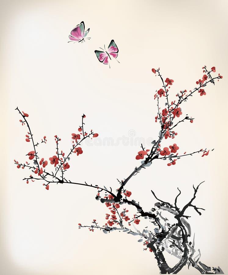 Söta fjäril och vinter royaltyfri illustrationer