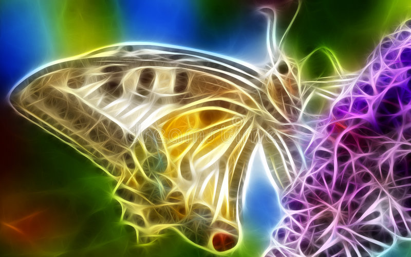 fjärilsfractal royaltyfri illustrationer