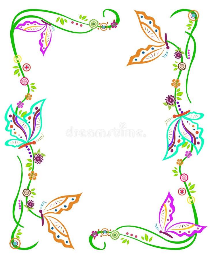 Fjärilsgräns stock illustrationer
