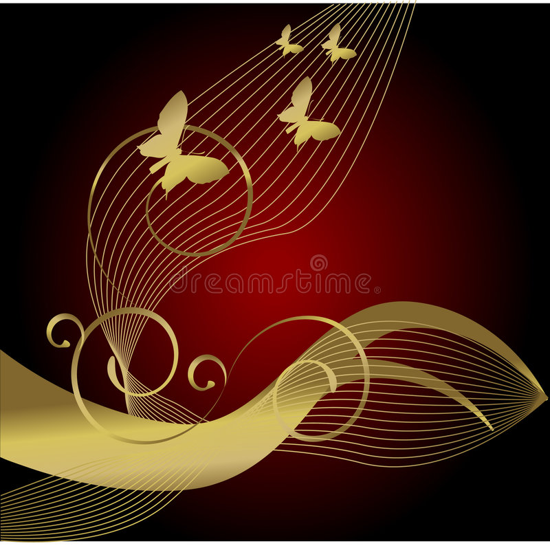 fjärilsguld royaltyfri illustrationer